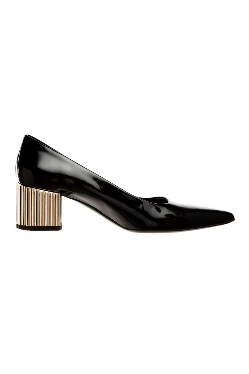 Court Shoe with Metal Block Heel