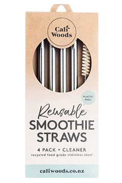 Stainless Steel Smoothie Straws - Pack of 4 1