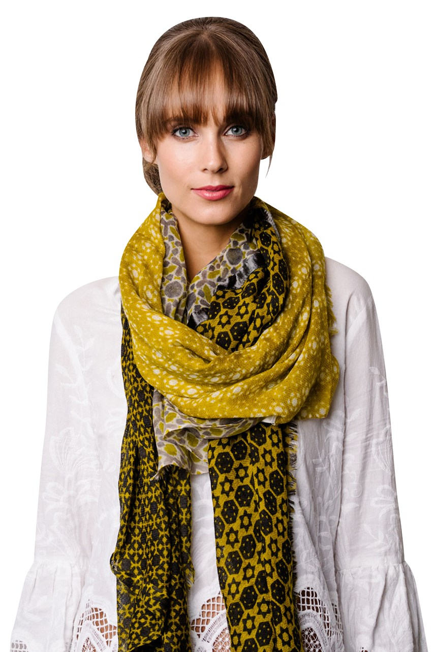Chartreuse Grey Scarf