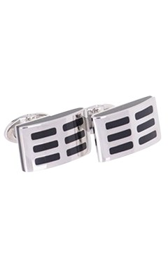 Stainless Steel Black Laquer Cufflinks BLACK 1