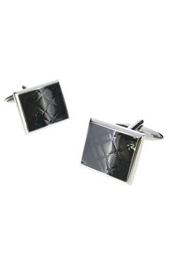 Black Check Steel Cufflinks BLK SILV 1