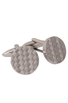 Stainless Steel Basketweave Round Cufflinks GREY SILV 1