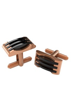 Stainless Steel Rose Gold Black Cufflinks ROSE GOLD 1