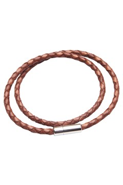 Leather Double Wrap Bracelet Tan 1