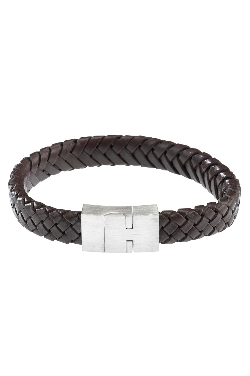 Brown Leather Steel Bracelet