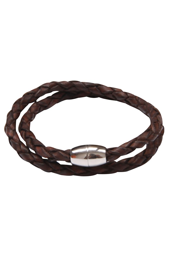 Brown Leather Double Bracelet