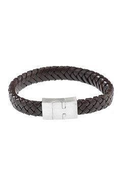 Leather Bracelet with Steel Clasp Brown 1