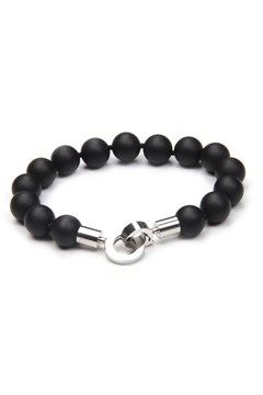 Black Agate & Stainless Steel Ball Bracelet Black 1