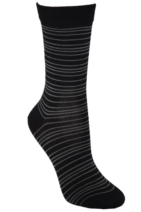 Fine Stripe Merino Sock - black/charcoal