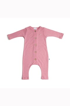 Autumn Leaves Merino Button Up Babygrow PINK ROSE 1
