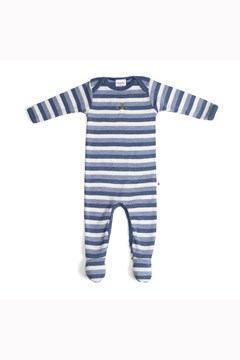 Teddy Bear Picnic Merino Babygrow DENIM BEE 1