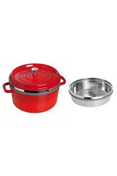 Round Cocotte With Steamer RED 1
