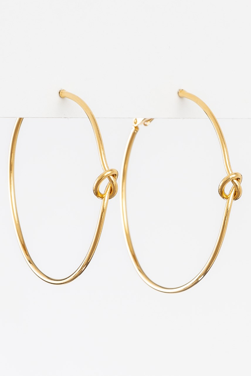 Gold Hoop Tie The Knot Earrings