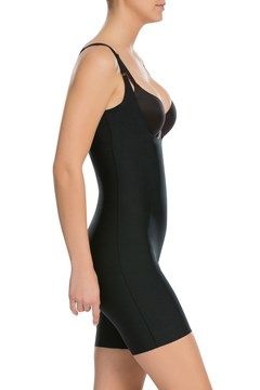 Thinstincts Open-Bust Mid-Thigh Bodysuit - very black