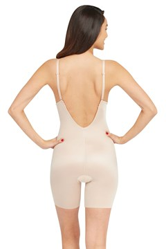 Suit Your Fancy Plunge Low-Back Mid-Thigh Bodysuit - champagne beige