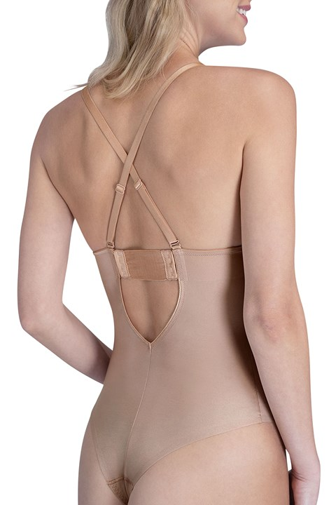 Suit Your Fancy Plunge Low-Back Thong Bodysuit - champagne beige