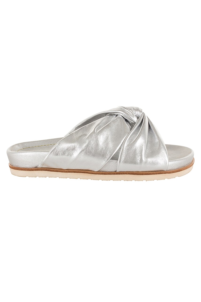 Metallic Leather Slide