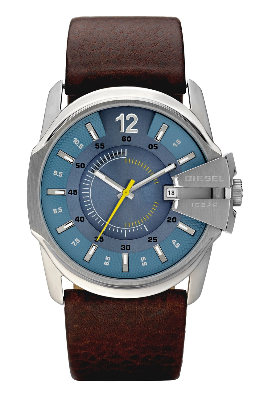 'Chief Series' Dark Brown Leather Men's Date Watch