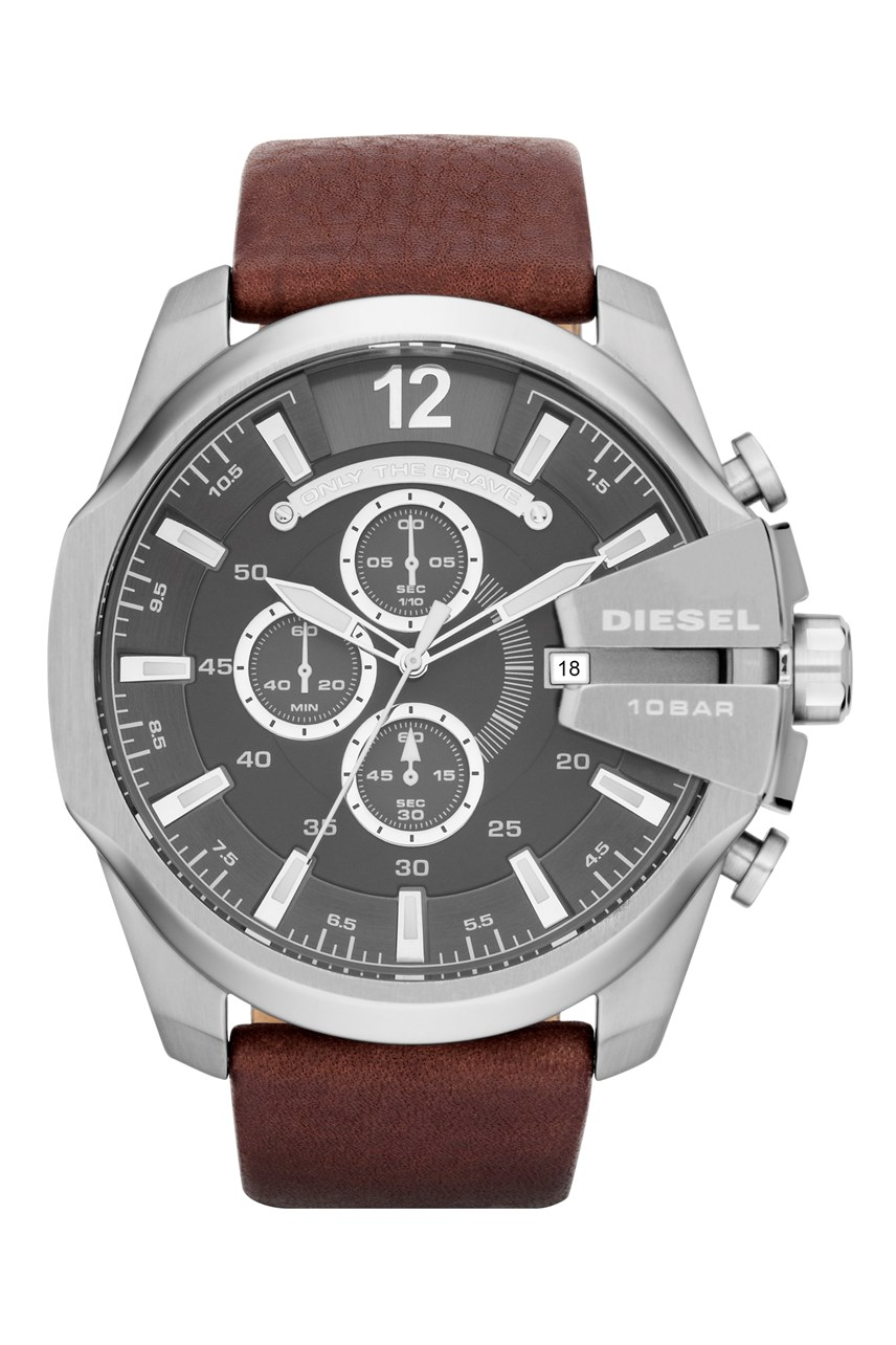 'Chief Series' Dark Brown Leather Men's Chronograph Watch