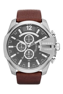 'Chief Series' Dark Brown Leather Men's Chronograph Watch SILVER STEEL 1