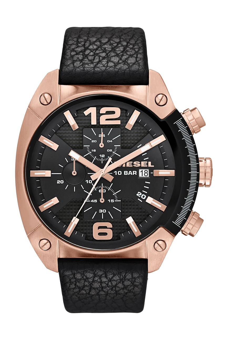 Overflow Black Leather Men's Chronograph Watch