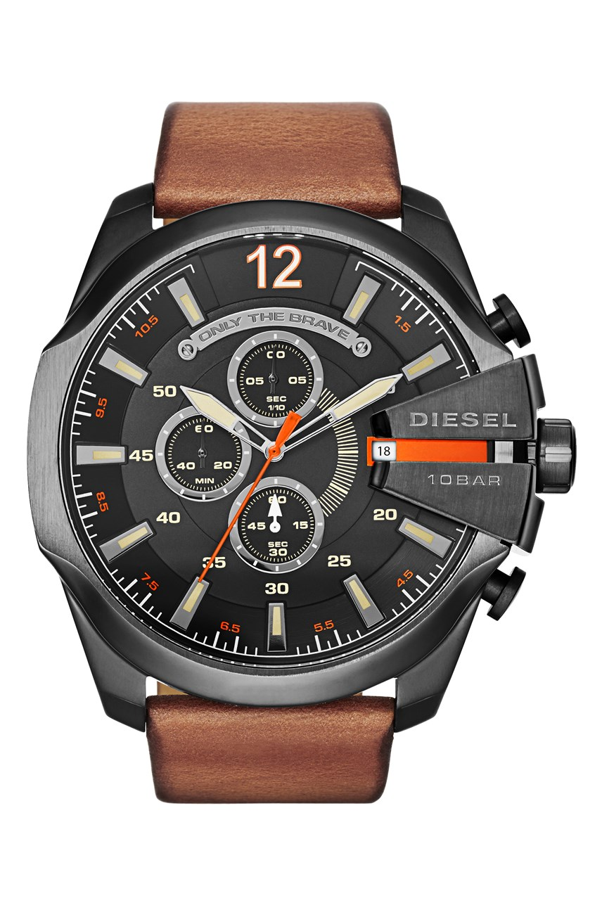'Chief Series' Light Brown Leather Men's Chronograph Watch
