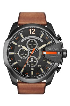'Chief Series' Light Brown Leather Men's Chronograph Watch GUNMETAL 1