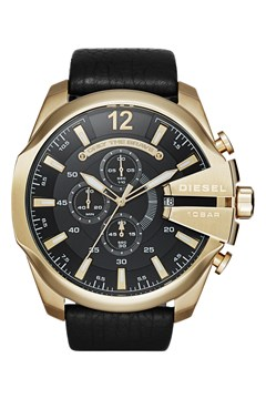 'Chief Series' Black Leather Men's Chronograph Watch GOLD 1