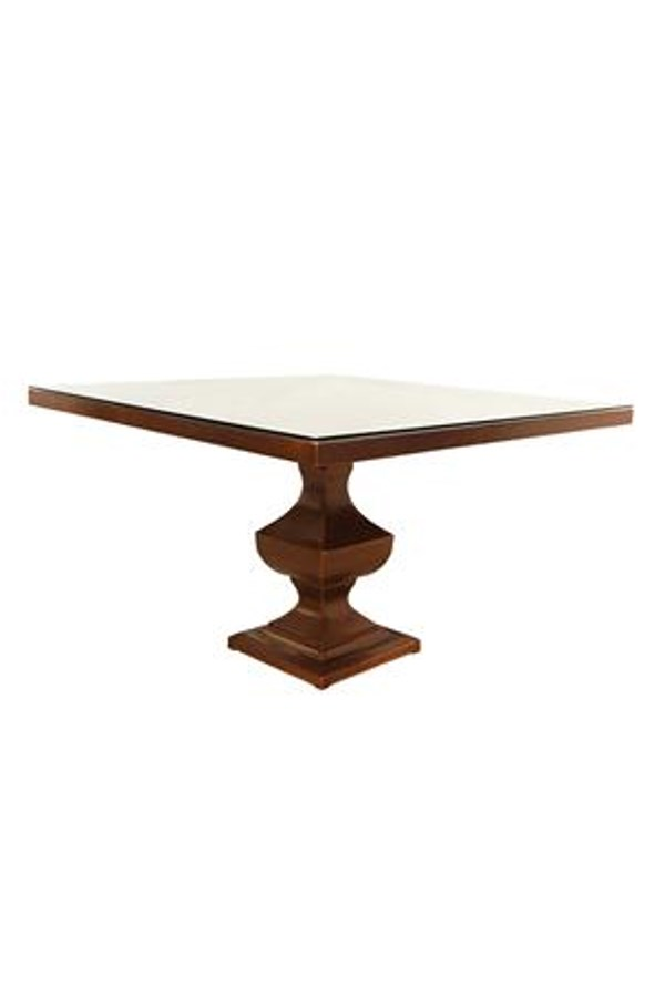 Square Copper Pedestal Dining Table