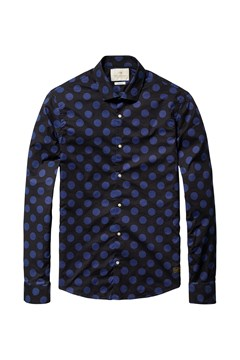 Printed Polka Dots Dress Shirt Black/Blue (C) 1
