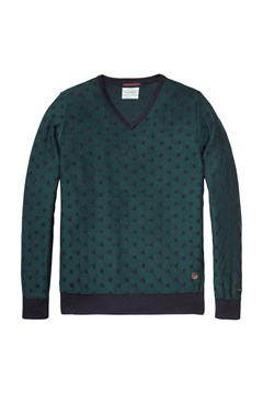 Jacquard V Neck Knit Pullover Green (D) 1