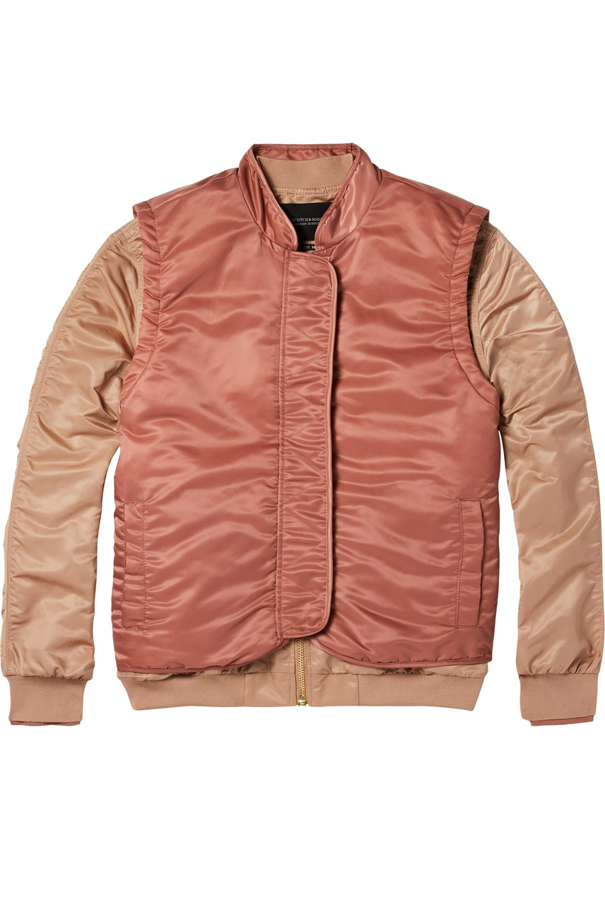 Double Layer Tonal Bomber Jacket