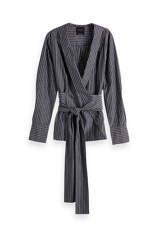 Striped Wrapover Tie Blouse