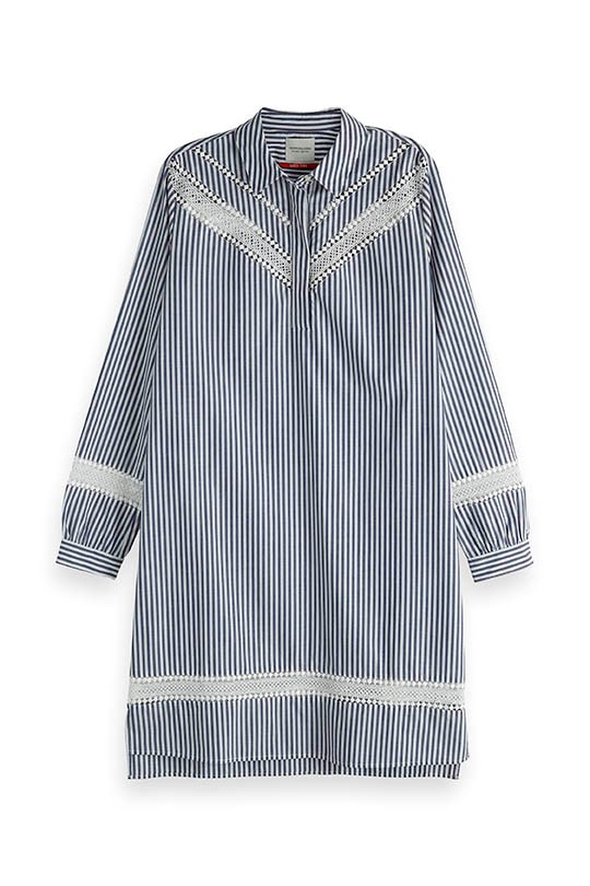 Striped Lace Insert Shirt Dress