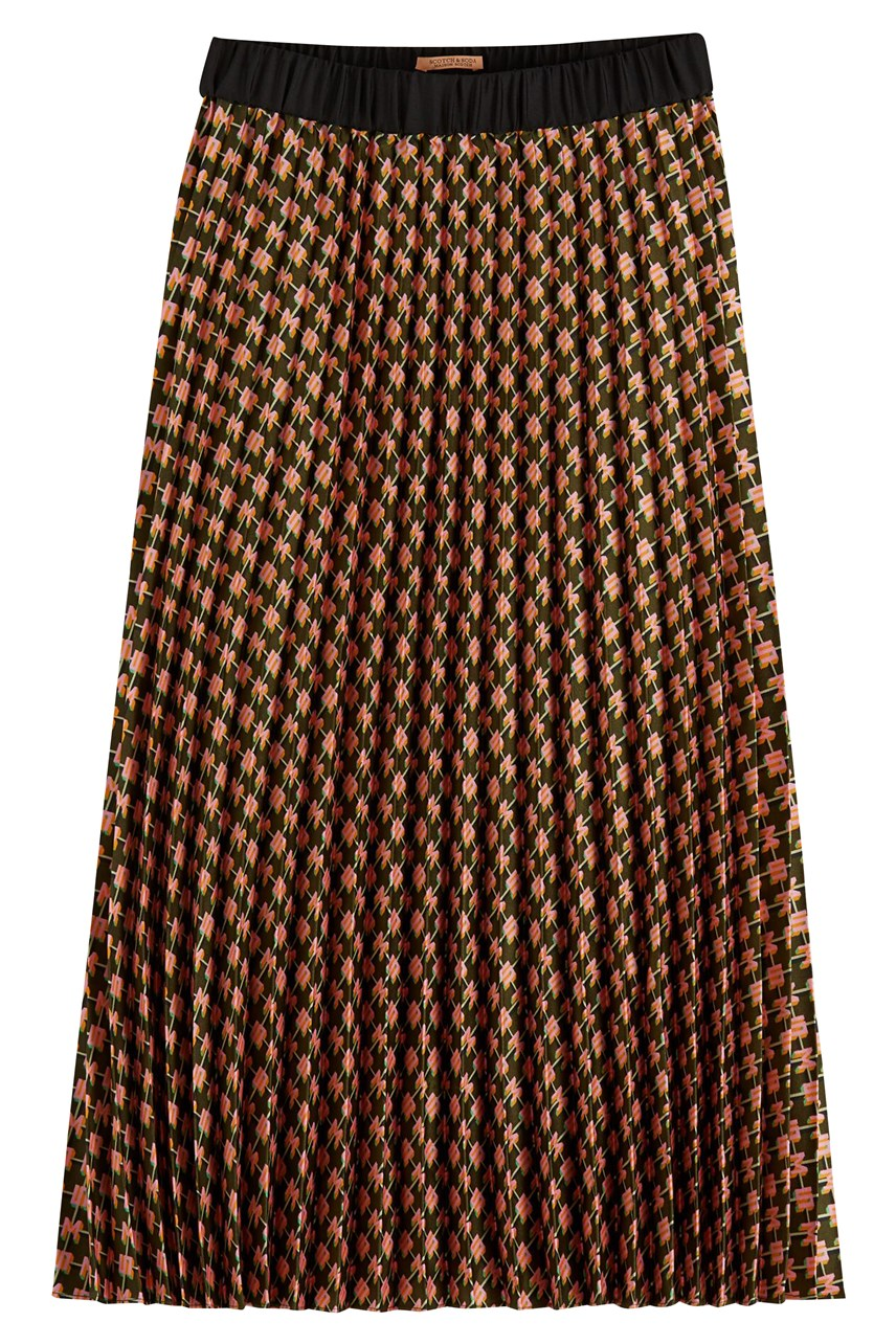 Pleated Midi Length Skirt