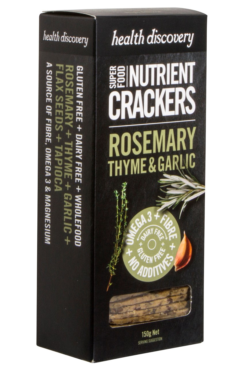 Rosemary, Thyme & Garlic Super Food Crackers