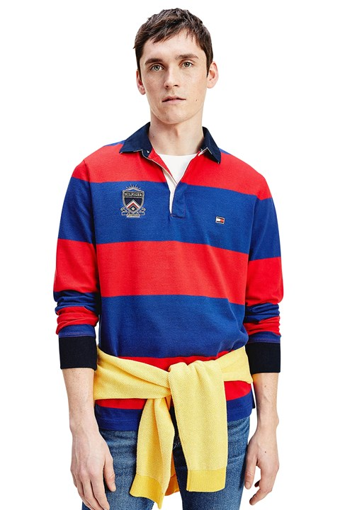 Varsity Block Stripe Rugby Shirt - 0ev primary red