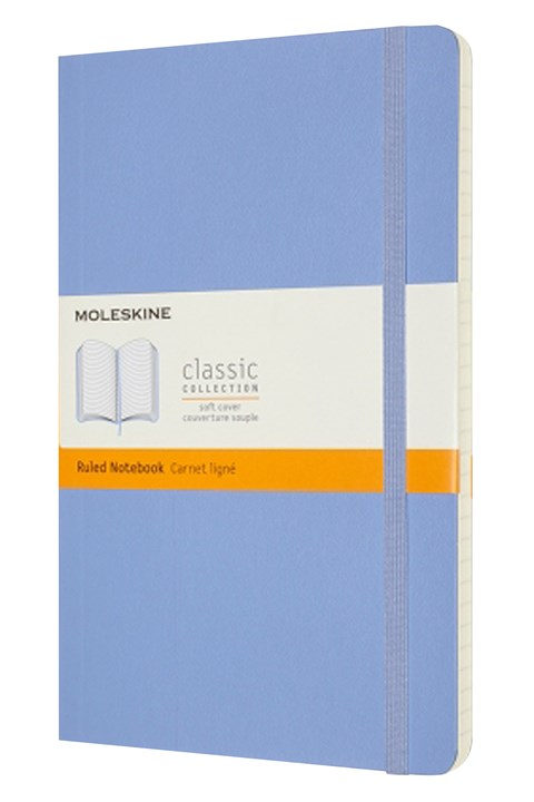 Classic Soft Cover Ruled Notebook L - hydrangea blue