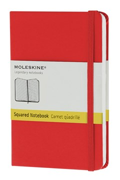 'Classic' Hard Cover  Pocket Squared Notebook RED 1