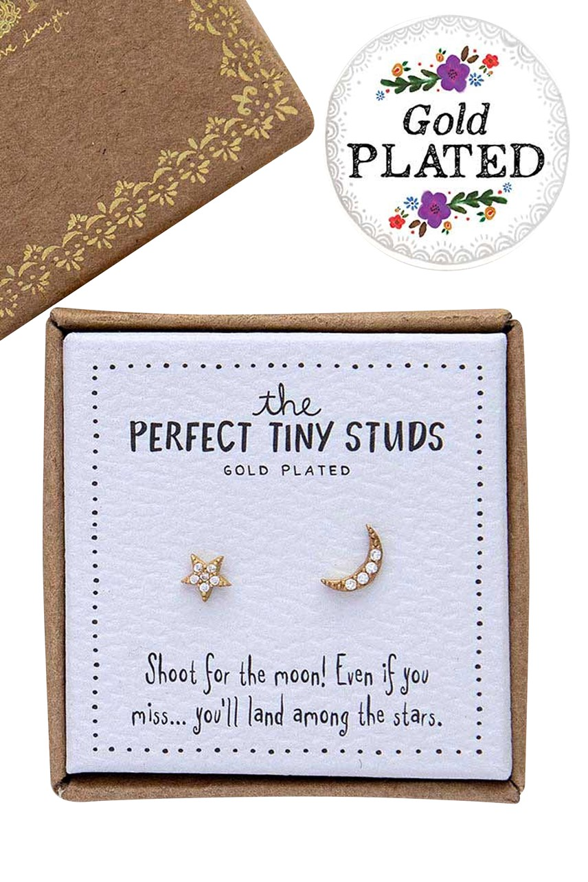 Perfect Tiny Studs Star And Moon