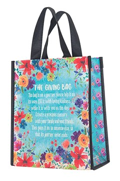 Recycled Gift Bag BLUE FLORAL 1