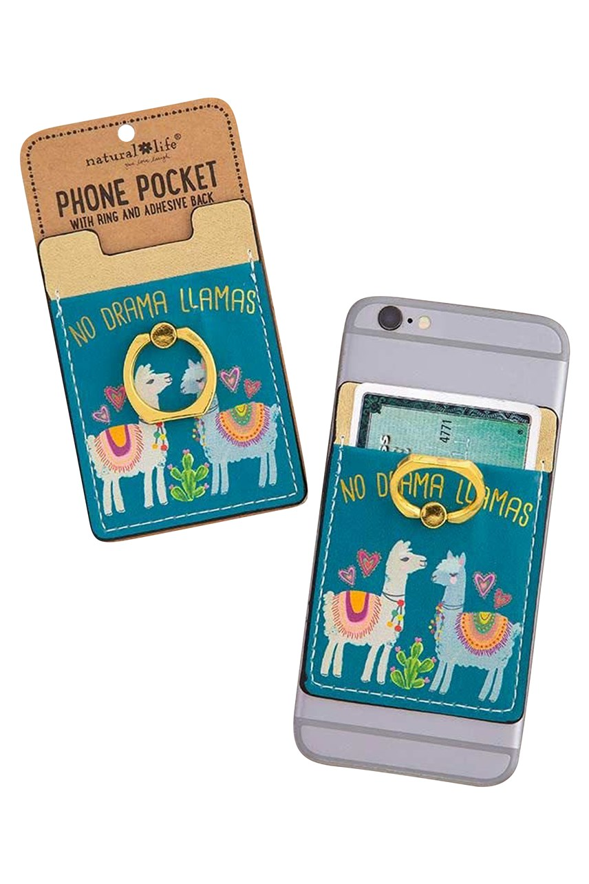 No Drama Llama Phone Pocket Ring