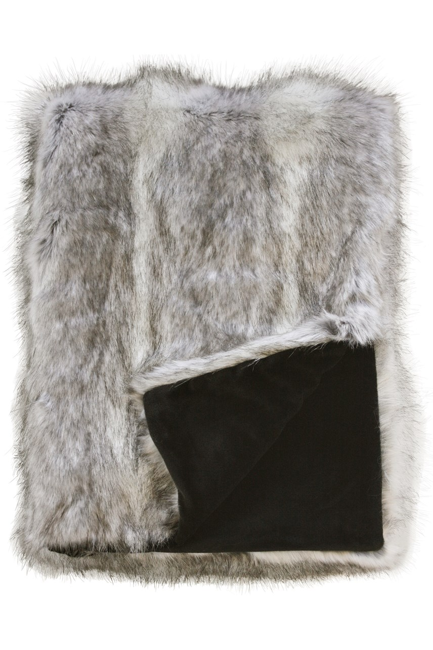 Faux Fur Grey Coyote Throw