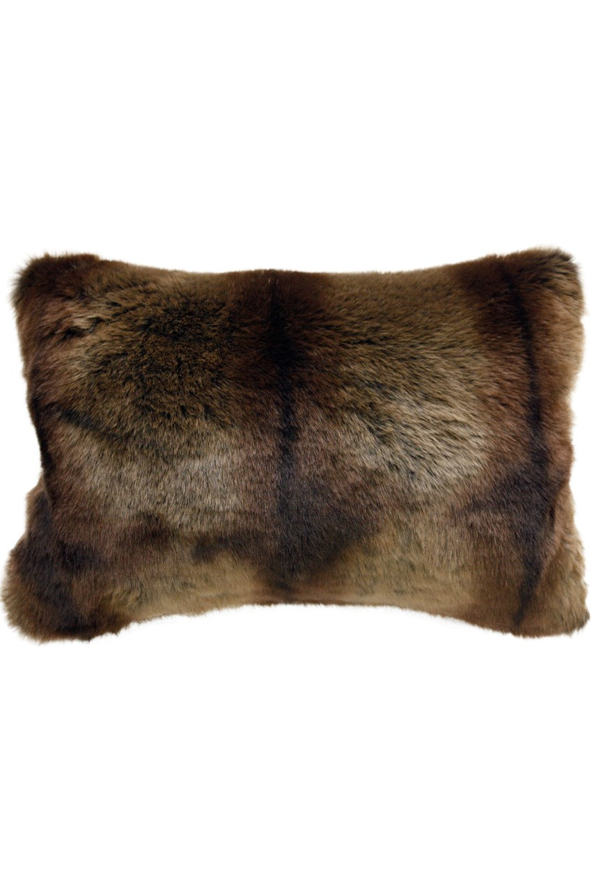 Striped Beaver Faux Fur Cushion