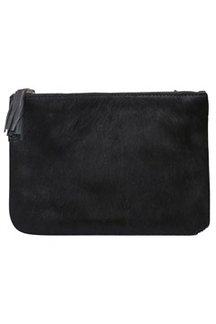 Designer Leather Clutch Bag BLACK PONY 1