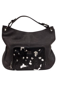 Designer Leather Handbag BLACK SILVER 1