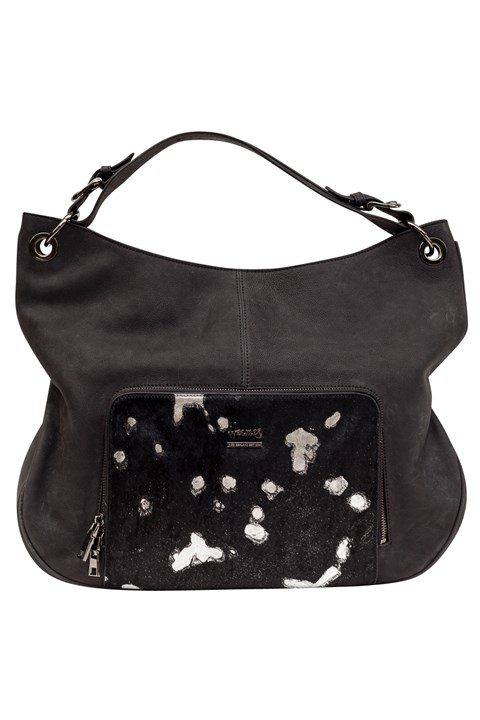 Designer Leather Handbag - black silver