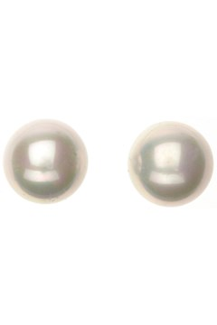 White Pearl Stud Earrings RHODIUM 1