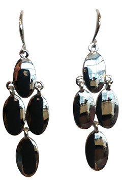 Metal Tear Drop Earrings RHODIUM 1