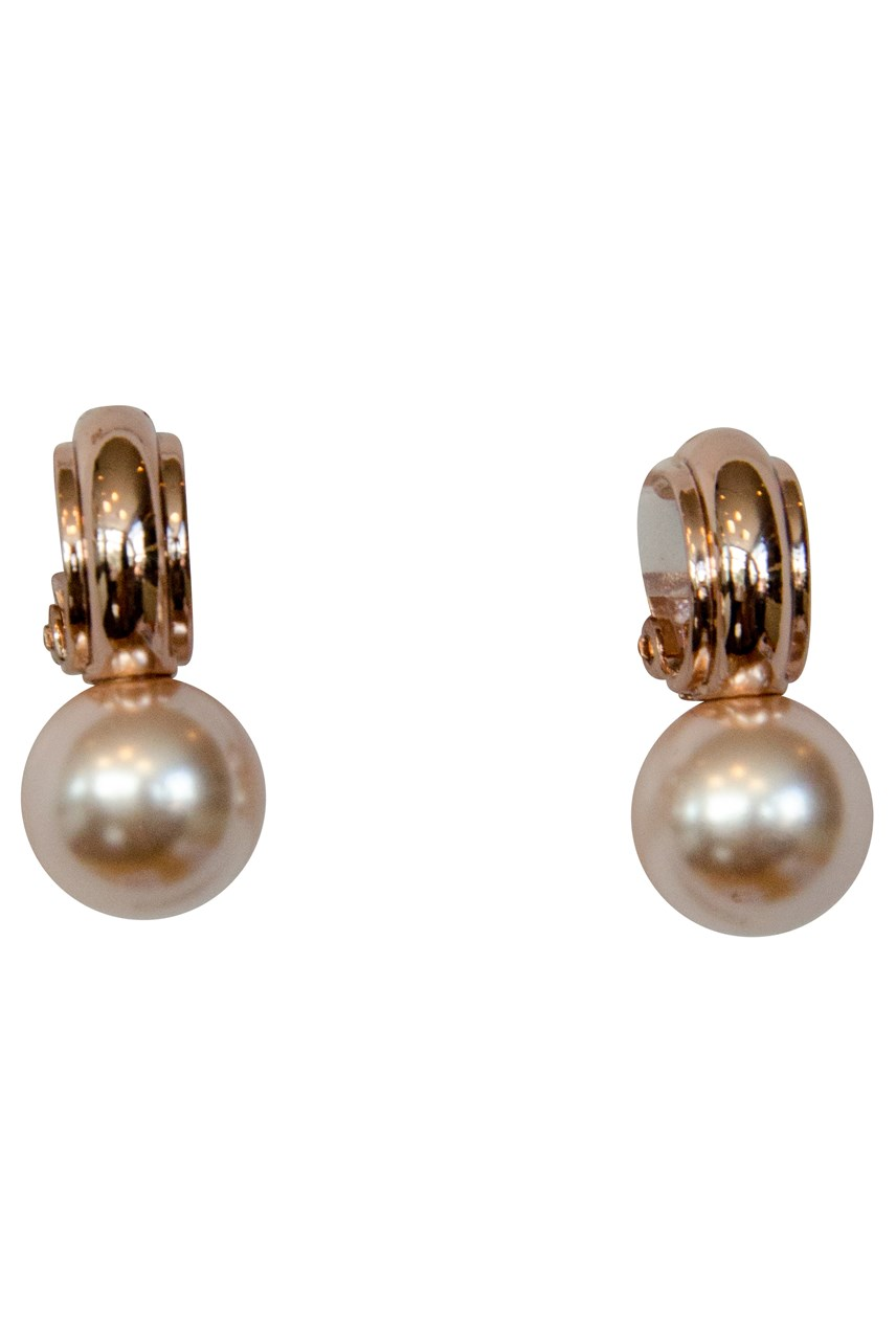 Half Hoop Clip-on Earrings with Faux Pearl